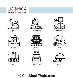plat, hôtel, icônes, set., moderne, -, vecteur, conception, ligne