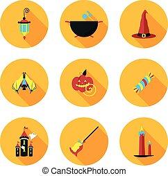 plat, halloween, icônes