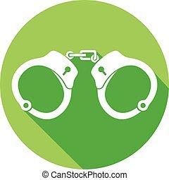 plat, handcuffs, politie, pictogram