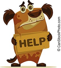 plat, help., caractère, chien, illustration, vecteur, besoin, maison, dessin animé