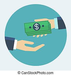 plat, het bezorgen geld, illustratie, hand, vector, ontwerp, anderen