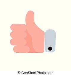 plat, het tonen, op, illustratie, hand, vector, duimen