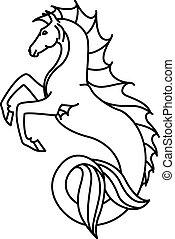 plat, hippocampus, lineair, illustratie