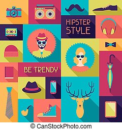 plat, hipster, conception, style., fond