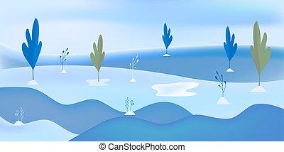 plat, hiver, neige, illustration, arrière-plan., minimal, paysage