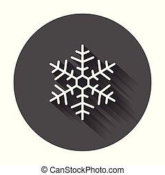 plat, hiver, toile, flocon de neige, symbole, site, illustration, shadow., vecteur, ui, long, app, conception, style., logo, icône