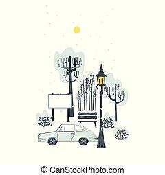 plat, hiver, ville, neige, parc, scène, panneau affichage, voiture