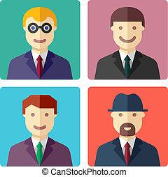 plat, homme affaires, avatar, coloré, icônes