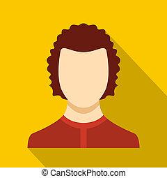 plat, homme, avatar, icône