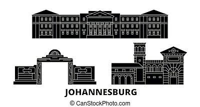 plat, horizon, vues, illustration, voyage, landmarks., symbole, johannesburg, vecteur, noir, afrique, ville, sud, set.