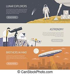 plat, horizontal, astromomie, bannières