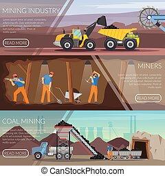plat, horizontal, industrie, exploitation minière, bannières