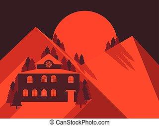 plat, hotel., solitaire, montagnes, maison, illustration, dawn., vecteur, montagne, style., paysage