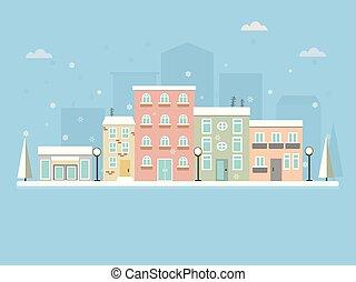 plat, houses., scène neige, snow., rue