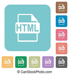 plat, html, bestand, formaat, iconen