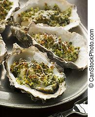 plat, huîtres, rockefeller