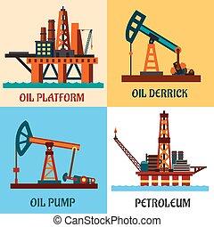 plat, huile, icônes, pétrole, production, derrick