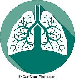 plat, humain, poumons, icône