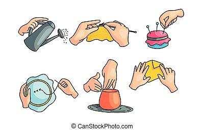 plat, humain, vecteur, mains, passe-temps, ensemble, illustration, style., différent, dessin animé, crafts., divers