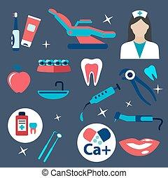 plat, hygiëne, tandheelkunde, iconen