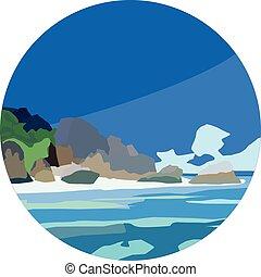 plat, icône, îles, mer, nature