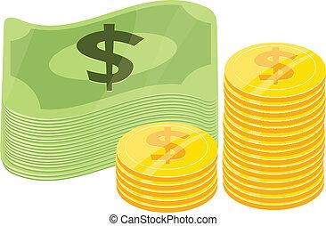 plat, icône, argent, vecteur