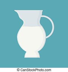 plat, icône, conception, cruche, lait