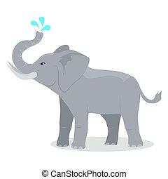 plat, icône, conception, dessin animé, éléphant