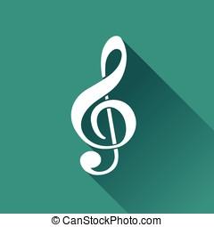 plat, icône, conception, musique