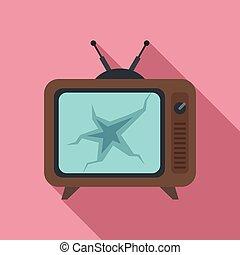 plat, icône, ensemble, cassé, style, tv