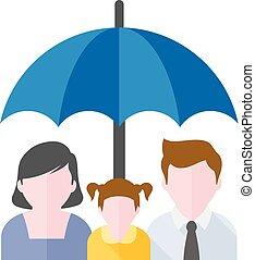 plat, icône, -, famille, parapluie