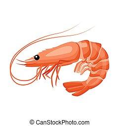 plat, icône, frais, crevette, mer, style, nourriture.
