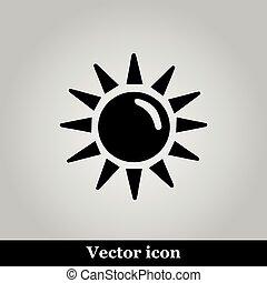 plat, icône, gris, fond, soleil