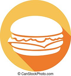 plat, icône, hamburger