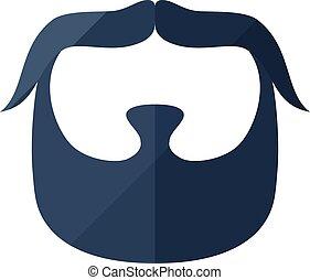plat, icône, hipster, moustache, barbe