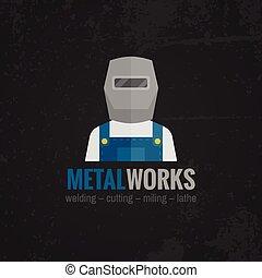 plat, icône, metalworking, affiche