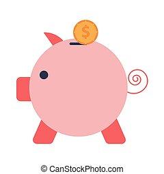plat, icône, porcin, style, économies