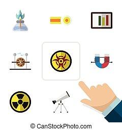 plat, icône, science, ensemble, de, flamme, irradiation, portée, et, autre, vecteur, objects., aussi, inclut, risque, molécule, brûleur, elements.