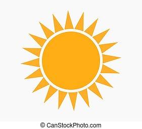 plat, icône, soleil, vector., conception