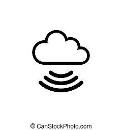 plat, icône, vecteur, nuage, wifi