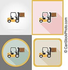 plat, icônes, élévateur, illustration, livraison, vecteur, camion