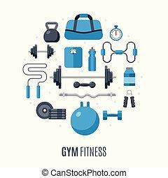 plat, icônes, équipement salle gymnastique, conception, exercice forme physique