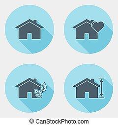 plat, icônes, 1, conception, interface utilisateur