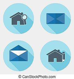 plat, icônes, 2, conception, interface utilisateur