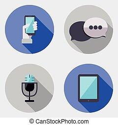 plat, icônes, 3, conception, interface utilisateur