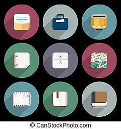plat, icônes bureau, articles, business, objets
