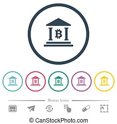 plat, icônes bureau, couleur, bitcoin, rond, grands traits, banque