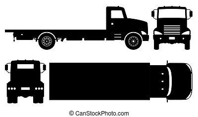 plat, icônes, camion, vecteur, illustration, noir