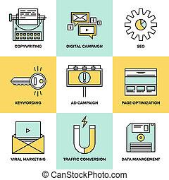 plat, icônes, commercialisation, optimization, numérique, seo
