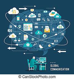 plat, icônes concept, communication, global, conception